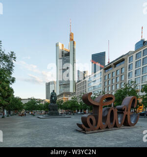 Frankfurt am Main, July 2019.  view of the monument and the statue of Goethe in the square of the same name - Stock Photo