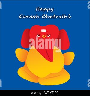 happy ganesh chaturthi festival poster design - Stock Photo
