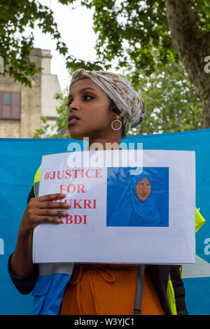 March on Parliament, Justice for Shukri Abdi, Westminster, UK. 17th July, 2019. Members of the UK Somalian Community are calling on authorites to hold a formal investigation into the death of a 12 year old Somalian girl, Shukri Abdi, from Bury near Greater Manchester following her death. Shukri came to the UK with her family from the Dadaab Refugee camp in Garissa, Kenya and was found dead in a river around midnight on 27th June, 2019. Credit: Maureen McLean/Alamy - Stock Photo