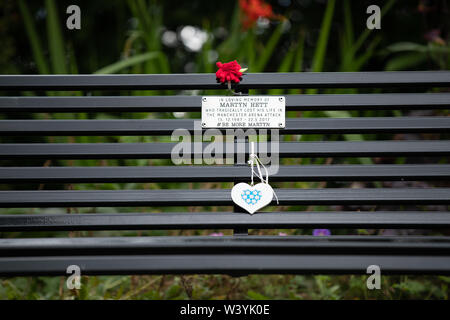 18 Jul 2019, Stockport, United Kingdom. The memorial bench to Martyn Hett, one of the 22 people who died during an explosion at the Manchester Arena o - Stock Photo