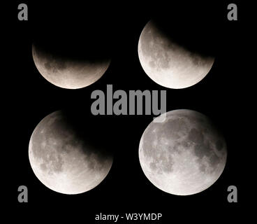 Bild-Combo: Impressionen: partielle Mondfinsternis vom 16. auf den 17.Juli 2019/ impressions from the partial lunar eclipse of July 16th to July 17th, - Stock Photo