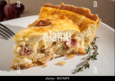 Bacon and Cheese Quiche - Stock Photo