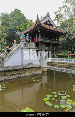 The One Pillar Pagoda, a historic Buddhist temple in Hanoi, Vietnam, Southeast Asia - Stock Photo