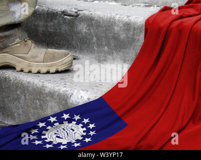Military concept on the background of the flag of Myanmar Burma - Stock Photo