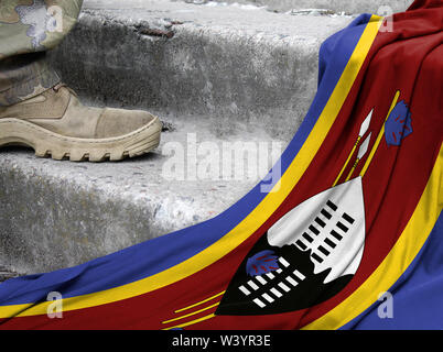 Military concept on the background of the flag of Swaziland - Stock Photo
