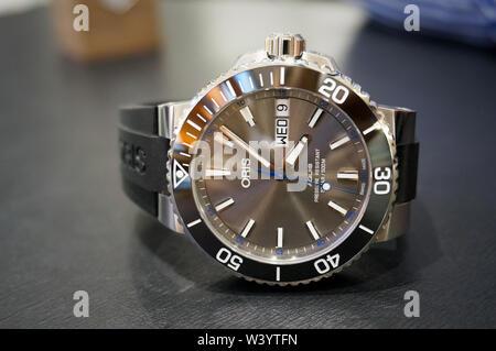 Alicante, Spain - August 5, 2018: Oris watch Aquis Hammerhead Limited edition on man's wrist - Stock Photo