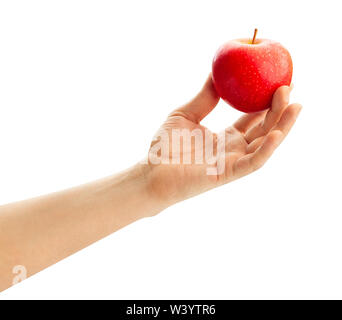 red apple in hand path isolated on white - Stock Photo