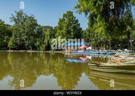 Lake in Cismigiu Park, Bucharest, Romania - Stock Photo