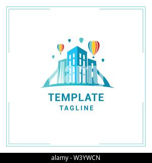 logo template for real estate Agency in blue - Stock Photo