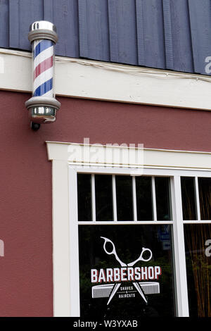 Old fashioned barber shop on Bowen Island, Vancouver, BC, Canada - Stock Photo