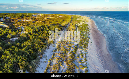 Dueodde, Denmark. 03rd July, 2019. The southeast tip of the Danish Baltic Sea island (aerial view with a drone). This beach in Dueodde is one of the most beautiful in Denmark. The island Bornholm is, together with the offshore archipelago Ertholmene, Denmark's most eastern island. Thanks to its location, the island of Bornholm counts many hours of sunshine. Credit: Patrick Pleul/dpa-Zentralbild/ZB/dpa/Alamy Live News - Stock Photo