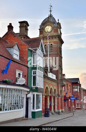 Town Hall with clock tower, Hungerford High Street, historic market town Berkshire, UK - Stock Photo