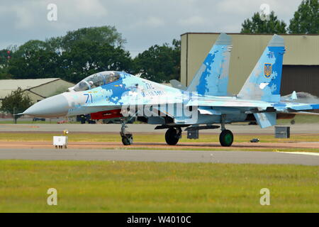 Ukrainian Air Force Sukhoi SU-27 Flanker arriving at RIAT 2019 at RAF Fairford, Gloucestershire, UK - Stock Photo