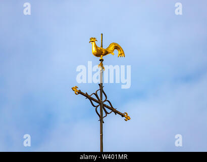 Golden rooster on tower of Saint-Remi Basilica in Reims, France - Stock Photo