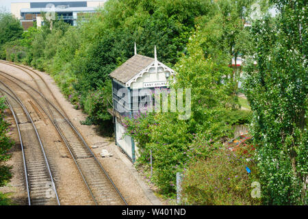 Dis-used East Holmes Signal Box, Lincoln, Lincolnshire, England. July 2019 - Stock Photo