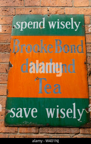 Old Brooke Bond tea metal advertising sign, Steep Hill, Lincoln, Lincolnshire, England. July 2019 - Stock Photo