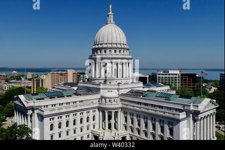 Spectacular, aerial view of Wisconsin State Capitol building and grounds around Capitol Square in sunny, clear morning, Madison, Wisconsin, USA - Stock Photo