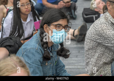 London, UK. 18th July, 2019. Hundreds of climate changes protest a sit in (Don't Pat the GLA) at City Hall, Inspired by Imogen May, a brave activist from Devon who refused to pay her council tax, we are planning to withhold the portion of our council tax that funds the GLA on 18 July 2019, London, UK. Credit: Picture Capital/Alamy Live News - Stock Photo