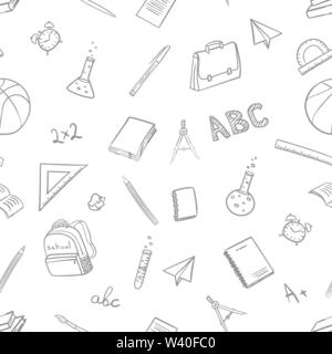 seamless pattern with school elements on return to school the first of september in doodle hand drawing style on white background. Vector illustration - Stock Photo