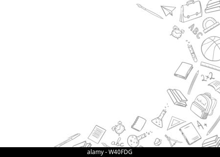 Frame with place for text with school elements on return to school on the first of September in the doodle style of hand-drawing on a white background - Stock Photo