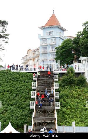 Himmelsleiter genannte Treppe zur Seeebrücke von Sellin, Rügen, Mecklenburg-Vorpommern, Deutschland - Stock Photo