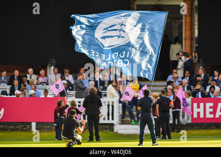 LONDON, UNITED KINGDOM. 18th Jul, 2019. Middlesex Cricket Club flag during T20 Vitality Blast Fixture between Middesex vs Essex Eagles at The Lord Cricket Ground on Thursday, July 18, 2019 in LONDON ENGLAND. Credit: Taka G Wu/Alamy Live News - Stock Photo