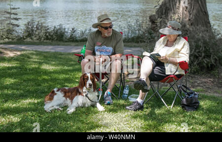 In the shade, sitting on camping chairs, a couple probably retired, with their dog. The lady reads, the gentleman keeps the spaniel in leash.. - Stock Photo