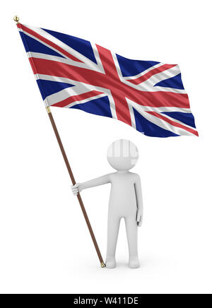 British Patriot Stickman Holding National Flag of the United Kingdom of Great Britain and Northern Ireland 3D Illustration On White Background - Stock Photo