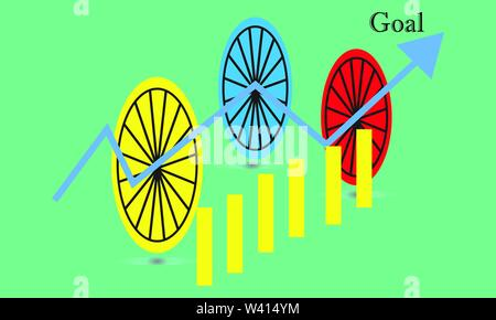 Business stick graph chart of stock market investment trading. trend of graph vector design - Stock Photo