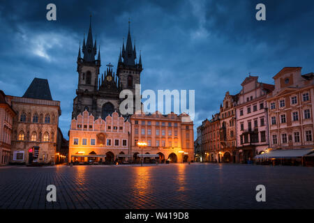 Prague, Czech Republic - March 15, 2019: Dawn in the Old Town Square in the historical city centre of Prague. - Stock Photo