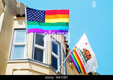 Flags in Castro, gay neighborhood of San Francisco - Stock Photo
