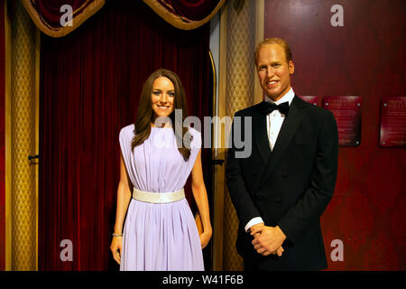 Prince William and Kate Middleton in Madame Tussauds - Stock Photo