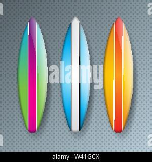 Vector Illustration with Colorful Surf Board Collection Isolated on Transparent Background. Vector Holiday Design Elemets with Surfboard Set for - Stock Photo
