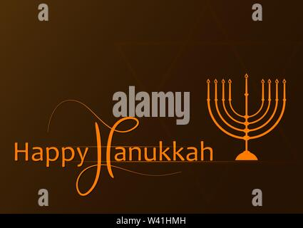 Vector Hanukkah background with menorah. Happy Hanukkah greeting card. Vector illustration. - Stock Photo