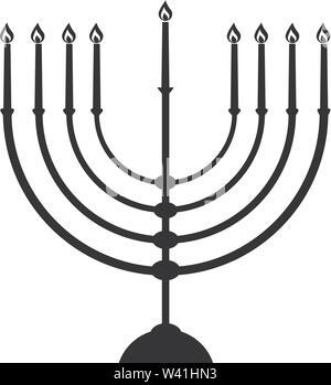 Menorah Silhouette. Hanukkah. Black and white isolated vector illustration - Stock Photo