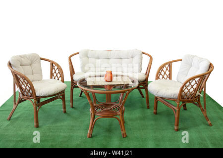 Set Giardino In Rattan.Set Of Rattan Furniture For Balcony And Garden On Artificial Grass
