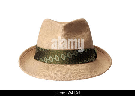 Mens summer straw hat isolated on white background - Stock Photo