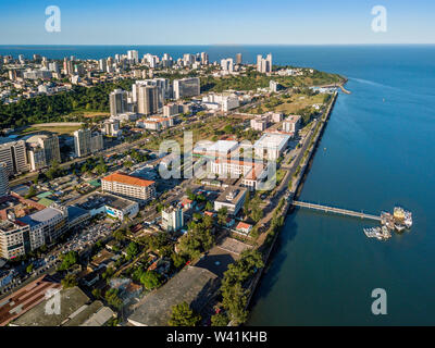 Aerial view of downtown of Maputo, capital city of Mozambique, Africa - Stock Photo