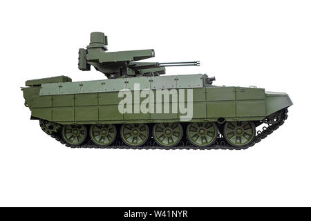 Modern infantry fighting vehicle of the Russian army on a white background - Stock Photo