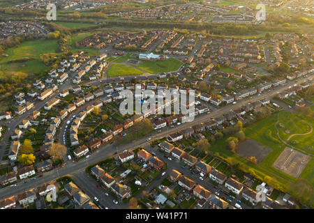 Looking down onto a typical British housing estate based in the Norton area of Stockton-on-Tees, Teesside, England, during sunset in Summertime. - Stock Photo
