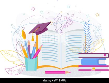 Training and education concept. University cap on an book - Stock Photo
