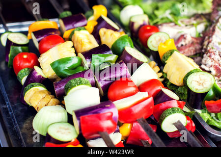 Big pieces of different grilled vegetables, closeup - Stock Photo