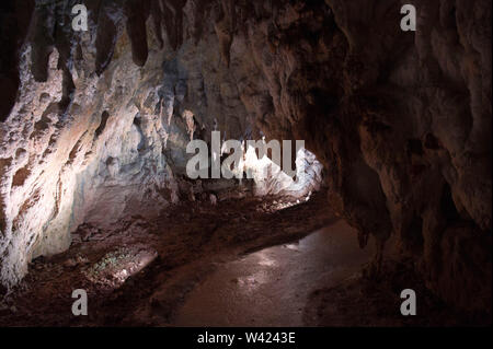 Europe, Italy, Campania, Caves of Pertosa Auletta, in Mount Alburno. In the caves you sail with a boat and you see a 2nd century pile dwelling village - Stock Photo