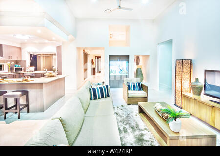 House interior with comfortable furnitures and kitchen wears, sofa set is white color and have pillows, flower vase on the table, television near wall - Stock Photo