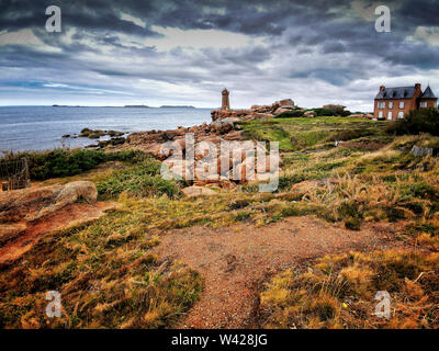 Ploumanach Mean Ruz lighthouse in pink granite coast, Perros Guirec, Cotes d'Armor, France - Stock Photo