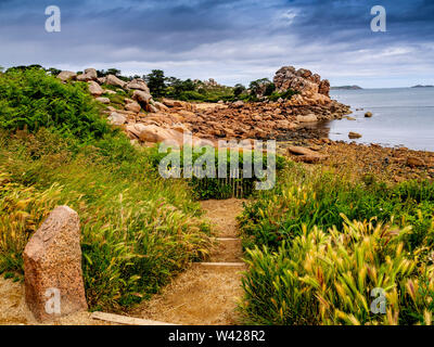 Ploumanach, giant rocks at the Cote granit rose pink, cotes-d'Armor department, Bretagne, France - Stock Photo