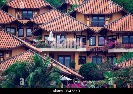 Modern residential buildings in Africa. Modern view. Suburb lifestyle in developing countries. Beautiful urban landscape. front view. Wonderful houses - Stock Photo