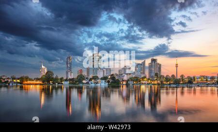 Vienna, Austria. Panoramic cityscape image of Vienna capital city of Austria during sunset.