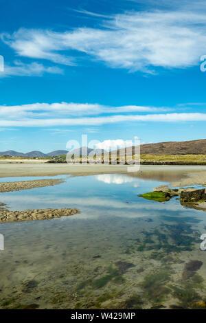 The Beach, Seilebost at Low Tide, West Harris, Scotland, uk - Stock Photo