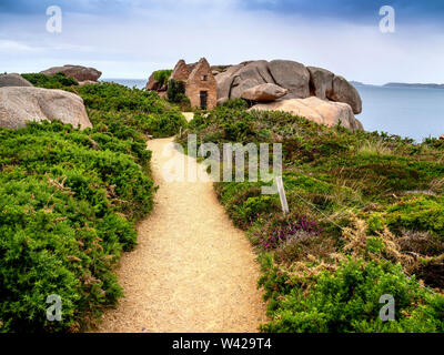 Ploumanach.The old powder house, pink granite coast, Perros Guirec, Cotes d'Armor, France - Stock Photo